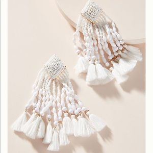 BaubleBar Rosa Fringed Drop Earrings White